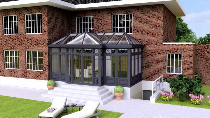 3D-Entwurf eines Wintergartens