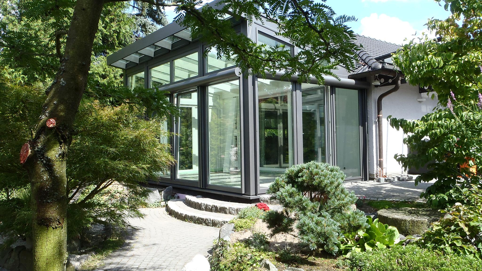 moderner wintergarten. Black Bedroom Furniture Sets. Home Design Ideas